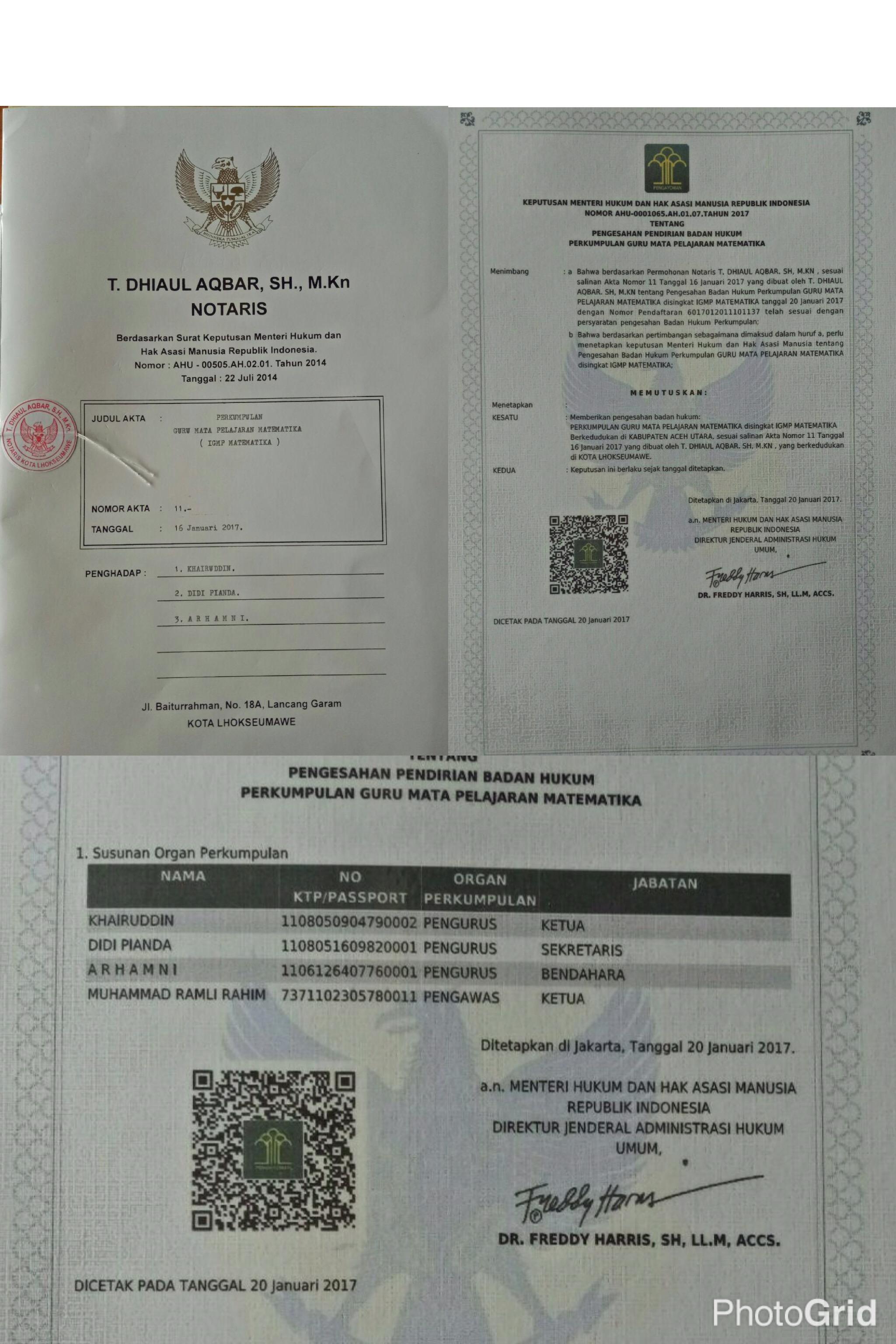GURU MATEMATIKA INDONESIA AKHIRNYA MEMILIKI ORGANISASI RESMI BERBADAN HUKUM